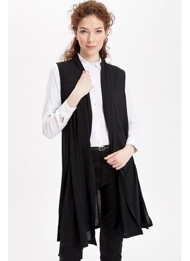 DeFacto Kolsuz Triko Uzun Hırka Siyah